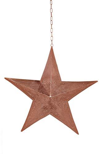 Lampes et lumière, fer à repasser, étoile de Noël à suspendre, 40 LED à piles, décoration faite à la main, lumière contemporaine, 48 x 10 x 48 cm, cuivre [Classe énergétique A++]