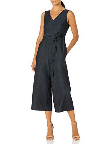 Calvin Klein Damen Petite Sleeveless Cropped Jumpsuit with Self Belt Kleid, Denim-blau, 34 Zierlich