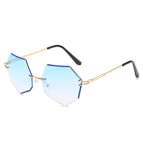 Astemdhj Gafas de Sol Sunglasses Gafas De Sol Hexagonales para Mujer, Gafas De Sol Poligonales De Montura Grande, Diseñador De Lujo, Azul, Rosa, con Lentes Transparentes, Gafas DeAnti-UV