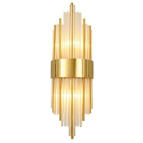 Proceso De Galvanoplastia E14 Cristal Lámpara De Pared,Cabecera Corredor Hotel Luz De Pared,Ajuste Fácil Creativo Decorar Aplique Pared-Dorado 22x60cm(9x24inch)