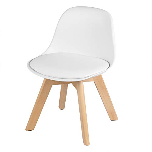 WOLTU KST005ws Kindermöbel - Kinderstuhl mit Holzbeinen Sitzhöhe 33cm, Stabile Kinder Stühle mit Rückenlehne für Kinderzimmer, PP+PU (Weiß)