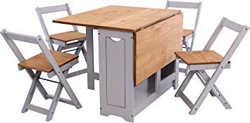 Greenheart Furniture (UK & Ireland) Butterfly dining set with 4 folding chairs (Grey and Pine Table & Chairs)