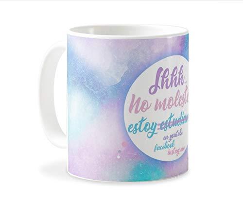 Personaliza tu carcasa Tazas de café o Desayuno con diseños de Latorita | Tazas de cerámica Blanca (AAA) | Taza con Frase - Shh. no Molestar, Estoy estudiando en Youtube.