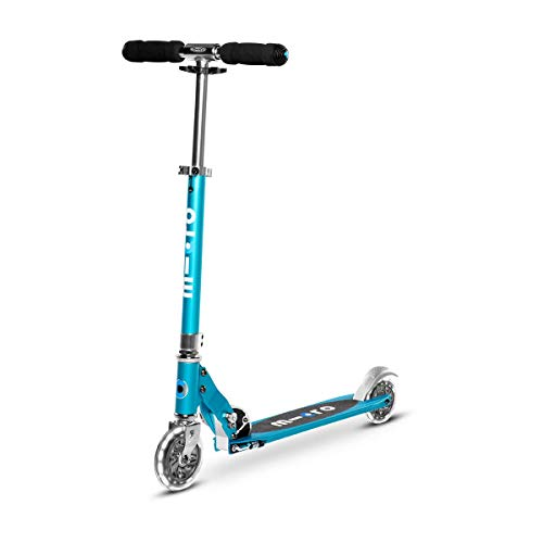 Micro Kickboard - Sprite LED, 2 ruedas, plegable para llevar, diseño suizo ligero, con ruedas iluminadas para niños y adultos, a partir de 8 años, azul océano