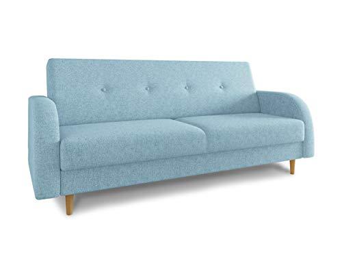 Schlafsofa Kelso - Sofa mit Bettkasten und Schlaffunktion, Bettsofa, Schlafcouch mit Holzfüße, Couch vom Hersteller, Couchgarnitur (Blau (Twist 17))