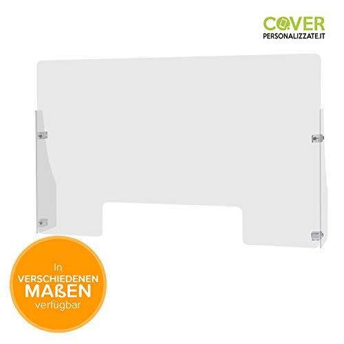 Spuckschutz aus Acrylglas rechteckig 101x60 cm, Tiefe: 15 cm, mit Seitenwänden - Hygieneschutzwand aus Acrylglas - Trennwand für Verkaufstresen mit Durchreicheöffnung - Acrylglass-Platte