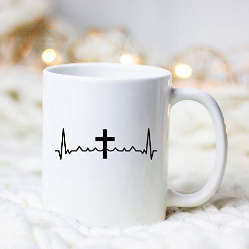 DKISEE Cristiano Cruz Heartbeat Taza de café de cerámica cristiana taza de café cruz 15 oz taza de café taza de té regalo para cristiano