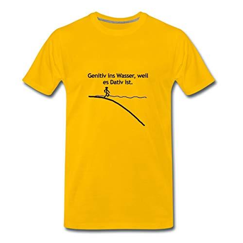 Genitiv Ins Wasser Grammatik Sprüche Männer Premium T-Shirt, S, Sonnengelb