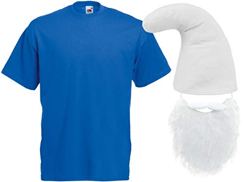 Alsino Schlumpf Kostüm Zwergen Verkleidung (Kv-141) blaues T-Shirt weiße Zwergenmütze und Bart, Größe:S