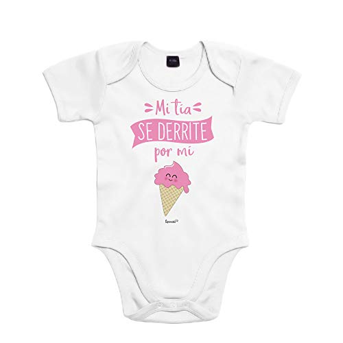 SUPERMOLON Body bebé algodón Mi tía se derrite por mi 3 meses Blanco Manga corta