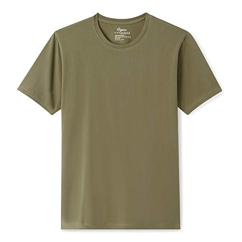Organic Signatures Men's Short-Sleeve Crewneck 100% Organic Cotton T-Shirt (Large, Olive)