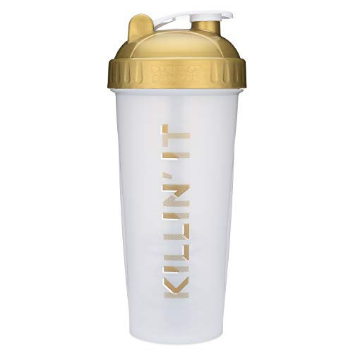 Motivational Quotes on Performa Perfect Shaker Bottle, 28oz Classic Protein Shaker Bottle, Actionrod Mixing Technology, Dishwasher Safe, Leak Proof (Killin It - Gold - 28oz)