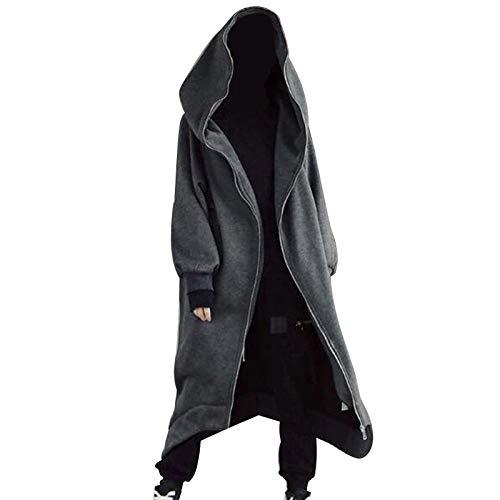 Lishiny Mens Womens Long Sleeve Hooded Nazgul Long Coat, Zipper Closure Fleece Lined Long Hoodie Sweatshirt Tops Coat