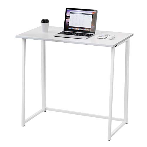 Dripex Compact Folding Desk No Assembly Required Computer Desk Folding Hobby Craft Table (White...