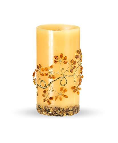 ANDANTE Premium Bienenwachs Kerze verziert mit Natur OSTSEE Bernsteinen ** Slim Prinz Charming ** echte Handarbeit - Große Kerze