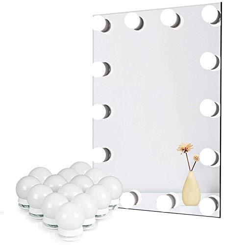 Lumiere Miroir pour Coiffeuse, Lampe Led pour Eclairage Miroir avec Variateur de Lumière et Adaptateur Secteur, 14 Ampoules, 6 Mètres, Miroir Non Inclus