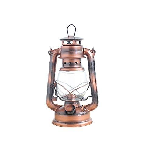 NBWS Grote originele petroleumlamp, petroleum-stormlantaarn met glazen kolf olielamp, stormlamp, lantaarn, brander, lampolie ophangen aan het plafond, koperlak
