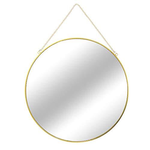 Mojawo hoogwaardige wandspiegel, ronde spiegel, hangspiegel, decoratiespiegel, goud, met ketting, Ø 30 cm