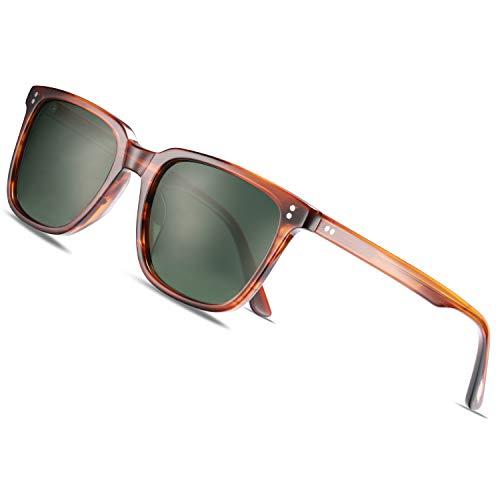 Carfia Polarisierte Herren Sonnenbrille mit Rechteckig Acetatrahmen, 100% UV-Schutz Sportliche Sonnenbrille