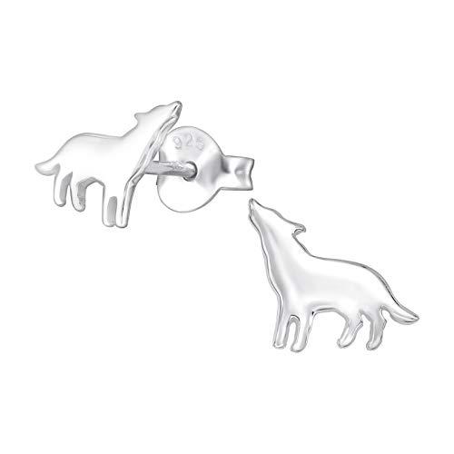 Laimons Boucles d'oreilles pour enfant - En forme de loup - 9 mm - Argent sterling 925 oxydé brillant