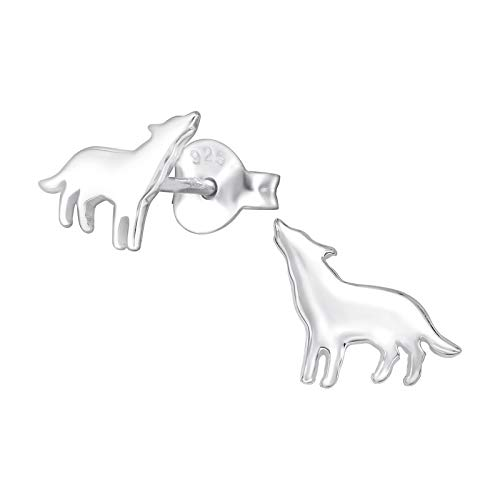 Laimons Pendientes infantiles para niñas, joyas para niños, diseño de lobo, 9 mm, oxidado brillante, plata de ley 925