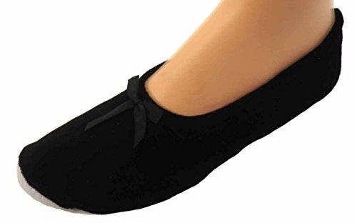 Unbekannt Damen Ballerinas Hausschuhe Ballettschuhe, Farben alle:schwarz, Größe:38/39