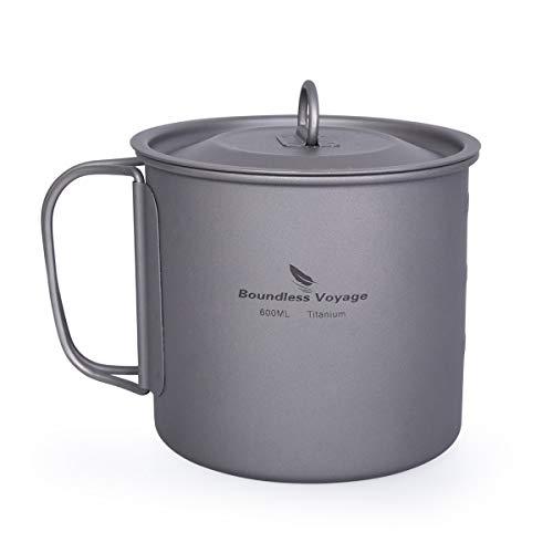 iBasingo Titan Tasse Camping Hängetopf mit Deckel Klappgriff Spork Outdoor Ultraleichter Tee Kaffee Wasserbecher Picknick Kochgeschirr 600ml Ti15142I