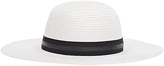 VINCE CAMUTO Women's Grosgrain and PU Banded Floppy Hat White One Size