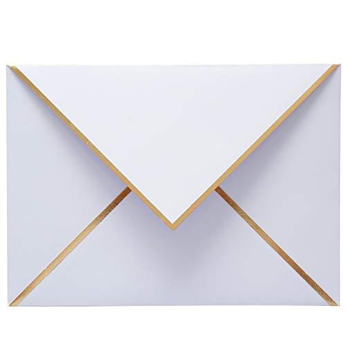 Briefumschläge, A7, Weiß, mit V-Umschlag, Goldfolie, für Hochzeiten, Einladungen, Babypartys, Fotos, Abschlussfeiern, Geburtstag, Brautparty, 13 x 18 cm, 25 Stück