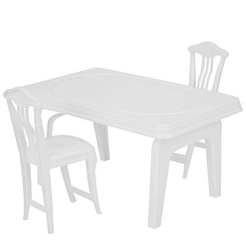 Zerodis 3 Stücke Mädchen Spielhaus Tisch Stuhl Nette Puppen Zubehör Tisch und Stühle für Puppe Miniatur Simulation Möbel Spielset