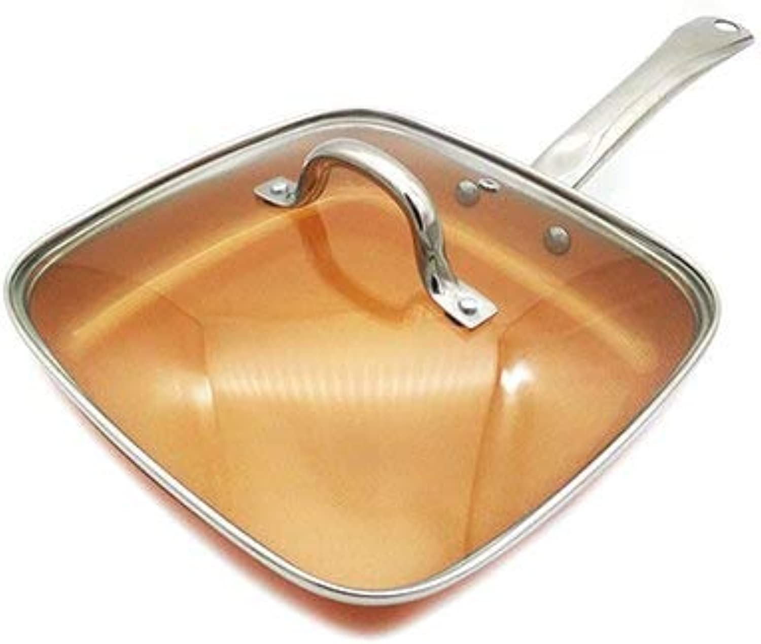 Transhome Copper Pans 24cm Nonstick Deep Square Induction Fry Pan Alloy Dishwasher Safe Oven Safe Saute Pans Kitchen Accessories   with Cover