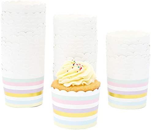 50 Pack Muffin Liners Pastel and Gold Foil Striped Cupcake Wrappers Paper Baking Cups product image