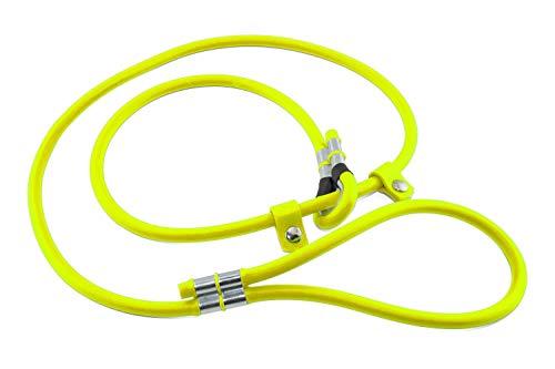LENNIE BioThane Retrieverleine, rund, Ø 8mm, 1,5m lang, mit Handschlaufe, Neon-Gelb, Moxonleine