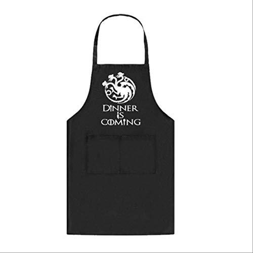 mhde Schürzen Kochschürze Abendessen Küche Backen Grillschürze 2 Fronttaschen OptionenSchwarz Targaryen