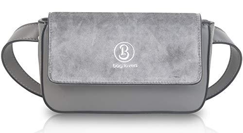 bag lovers - True Love - grau - Designer Bauchtasche für Damen - Stylische Gürteltasche & Hüfttasche aus Kunstleder I Umhängetasche Größe XS - M