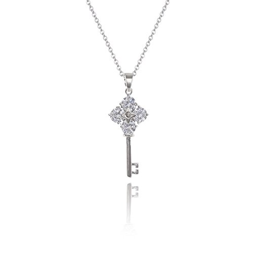 AMYJANE CZ Key Necklace for Women - Fashion Clear Cubic Zirconia Good Lucky Key to My Heart Pendant Necklace with Swarovski Crystals Secret Garden Key Best Idea Gifts for Women Girls