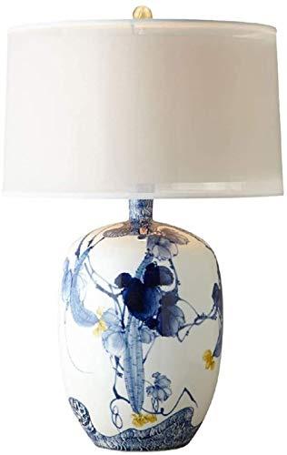 Lámpara de mesa de dormitorio chino de cerámica con pantalla de lino de la lámpara de la lámpara clásica de la sala de estar de cerámica de la lámpara de mesa de la lámpara de lectura