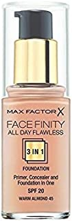 Max Factor All Day Flawless 3 in 1 Foundation Warm Almond 45 (Pack of 6) - マックスファクター一日中完璧な3 1における基礎暖かいアーモンド45 x6 [並行輸入品]