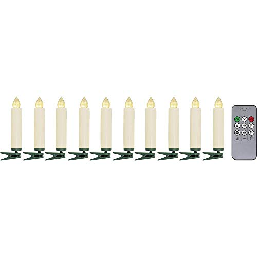 Polarlite LBA-30-003a draadloze kerstboomverlichting kaars binnen batterijvoeding 10 LED warm wit