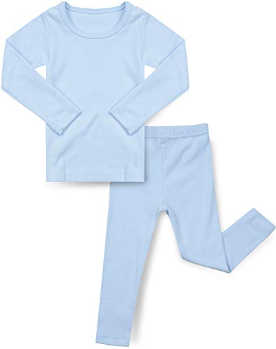 AVAUMA Baby Boys Girls Solid Pring Pj Set Kids Pajamas Long Sleeve Cotton (Sky Blue-1 JS)