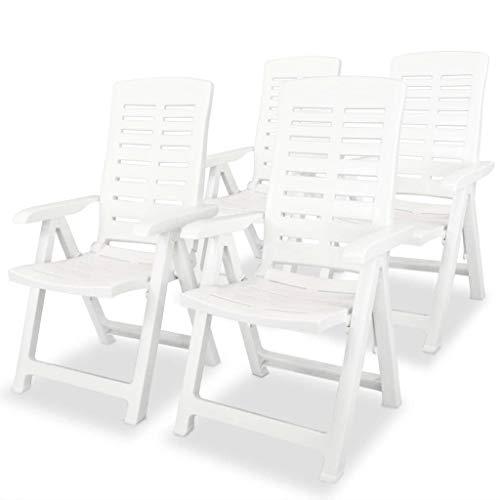 vidaXL 4X Chaises Inclinables de Jardin Fauteuils de Patio Chaises d'Exterieur Sièges de Terrasse Fauteuils Pliables Plastique Blanc