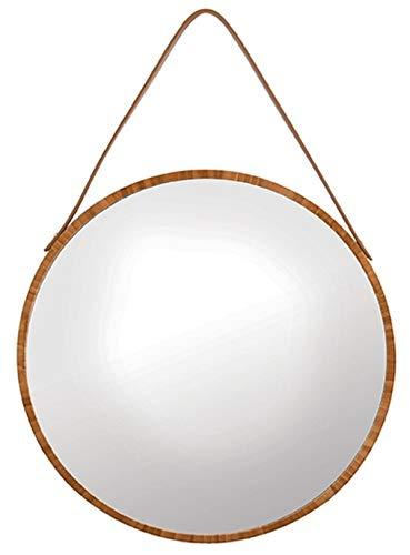 Spirella Adel Hängespiegel rund, Riemen, Rahmen aus Bambus, modern, Flur, Bad & Gäste WC, ∅: 40 cm, Natur