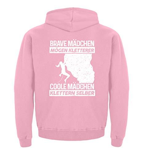 shirt-o-magic Klettern: Coole Mädchen Klettern selber - Kinder Hoodie -12/14 (152/164)-Baby Pink