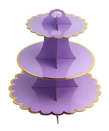 CiMi Torre/Cartón Cupcake Soportes – 3 Nivel Postre Cupcake árbol Pantalla Soporte – Baby Showers, Bodas, Cumpleaños 30.5cm * 32,5cm (L x H) (Púrpura)