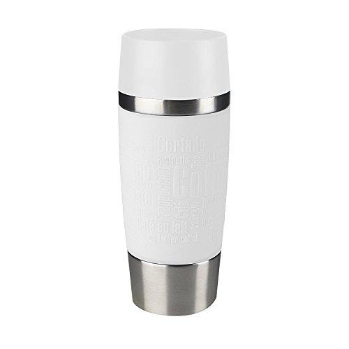 Emsa 515108 Travel Mug Thermo-/Isolierbecher, Fassungsvermögen: 360 ml, hält 4h heiß/ 8h kalt, 100% dicht, auslaufsicher, Easy Quick-Press-Verschluss, 360°-Trinköffnung, weiß