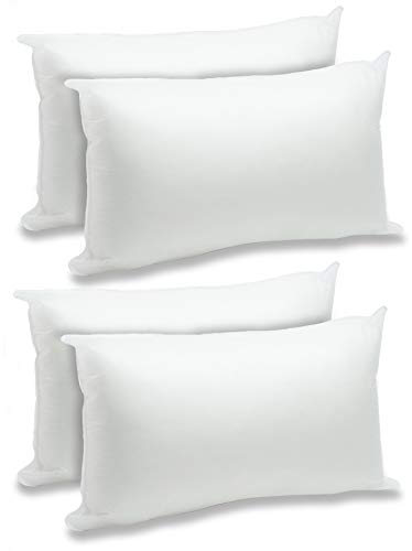 "Foamily Throw Pillows Insert Set of 4-12"" x 20"" Premium Hypoallergenic Lumbar Stuffer Pillow Inserts Sham Square Form Polyester, Standard/White"