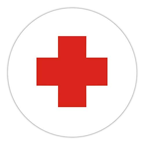 Aufkleber Rotes Kreuz I Ø 10 cm I Hinweis-Aufkleber Rotkreuz-Symbol I Sticker für Auto, Verbandskasten, Medizinschrank, etc. I wetterfest I hin_102