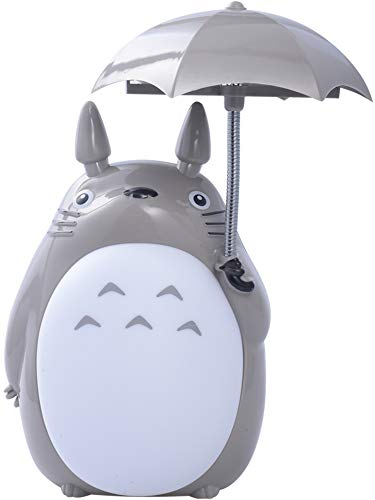 My Neighbor Totoro Anime Lamp, Totoro Umbrella LED Night Light Kid's Character Desk Night Table Reading Lamp with USB Charger (White Belly)