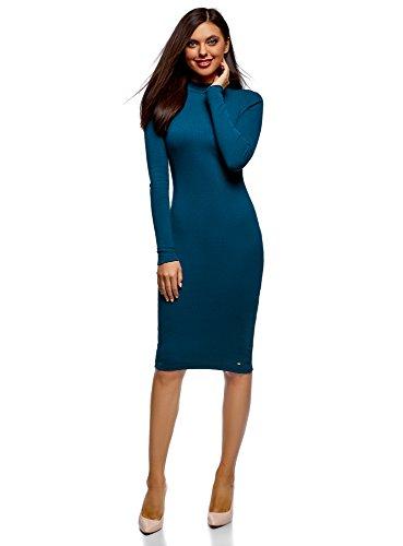 oodji Ultra Mujer Vestido de Punto con Cuello Mao, Azul, ES 34 / XXS