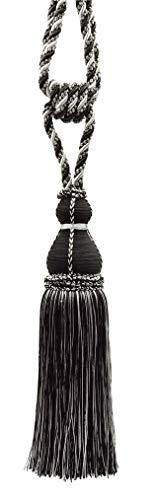 Elegante Vorhang & Draperie Quaste Raffhalter/38cm, Quaste lang 76cm verteilt (Embrace) Stil # tbh15–Schwarz, Silber Grau SGB